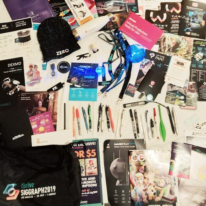 Packing up to leave the hotel and wow... SO. MUCH. SWAG. What an amazing week it has been at #SIGGRAPH2019 If we met during the week and didn't get to exchange details then please know that you're welcome to get in touch so that we can stay in contact and share in each others enthusiasm. I have met so many amazing people and made some new friends this week, it's been truly awesome.